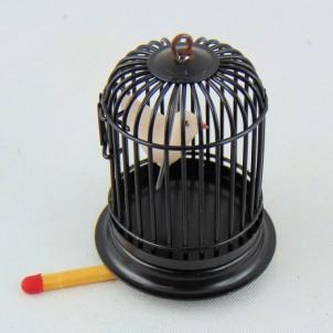 Jaula con pájaro miniatura casa muñeca,