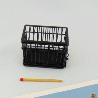 Dog cage with bird doll house miniature,