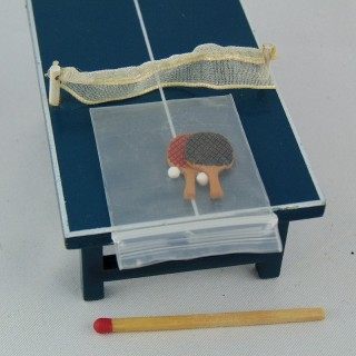 Tabla ping pong miniatura casa muñeca 8 cm.