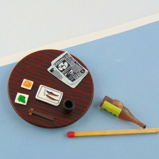 Miniature dollhouse Cutting board sliced meat