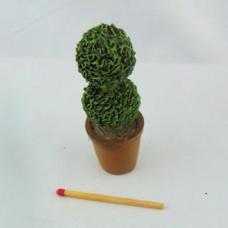 Árbol topiaire miniatura casa muñeca 6 cm,