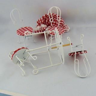 Sillas y mesa hierro café miniatura 1/12 casa de muñecas