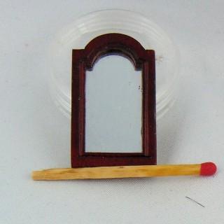 Miroir bois miniature maison poupée 4 cm.