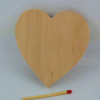 Wooden raw heart unfinished, 8 cms