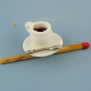 Tasso de café con cucharilla miniatura casa muñeca,