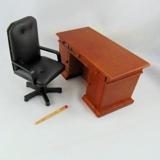 Ensemble Bureau miniature maison poupée 1/12