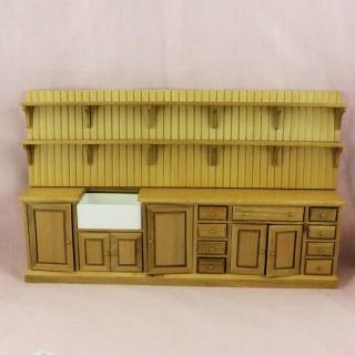 Mueble de cocina miniatura 1/12 con puertas y estantes