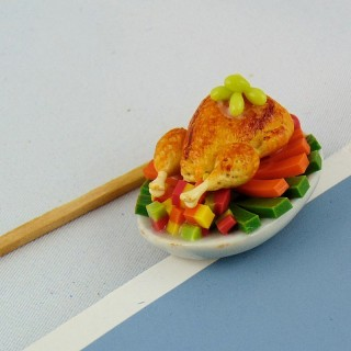 Rosted chicken dish doll miniature for dollhouse, 3 cms.