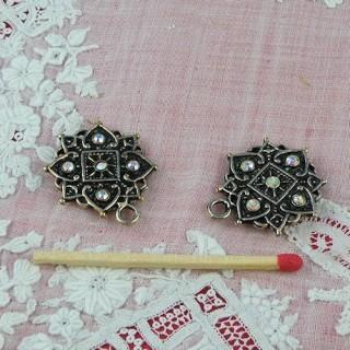 Fermoir bijou double aimanté avec strass 2 cm