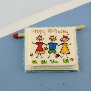 Gâteau anniversaire miniature maison poupée, 3 cm.