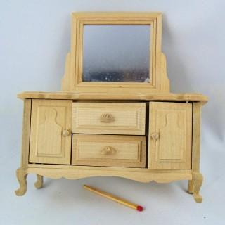 Kommode Miniaturfrisöse rohes Holz Puppenhaus