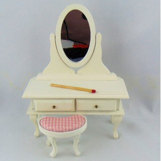 Vanity with stool dollhouse miniature