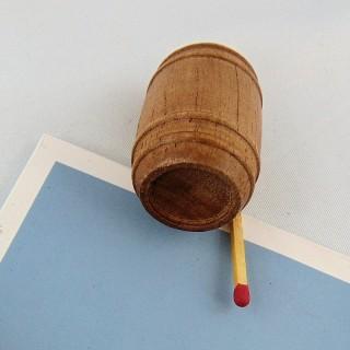 Tonneau bois miniature maison poupée bois 3 cm