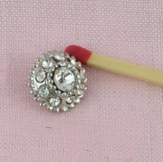 Shank button with rhinestone 10 mms, 1 cm.