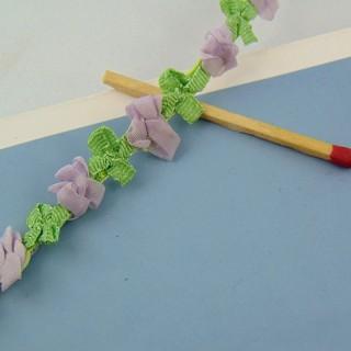 Galón organdí a flores rosadas 12 mm.,