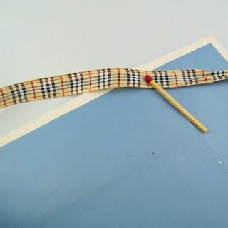 Ruban tissé écossais tartan style Burberry 1 cm.