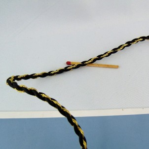 Galon rond cordon noir et or cordelière 4 mm