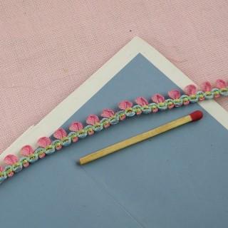 Ruban, galon, fleurs ruban, roses, 15mm, 1,5 cm.