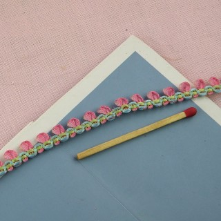 Ribbon with flower garland roses trim 6 mms.