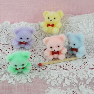 Flocked pastel bear mini 3 cm, 30mm
