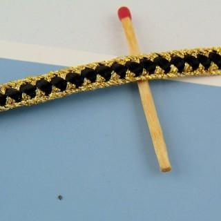 Galon crolle, vagues,rouge et or, 1,7 cm, 17 mm.