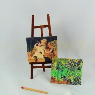Miniature artist easel for doll miniature school.