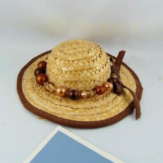 Chapeau paille casquette tour 20 cm.