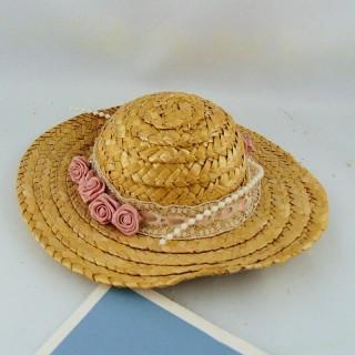 Chapeau paille décoré tour 22 cm.
