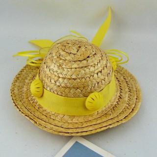 Chapeau paille décoré tour 17 cm.