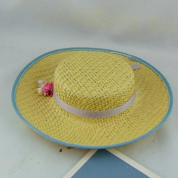 Pour Porcelaine Paille 20 Poupée Chapeau De Cm 0wOPN8nkX