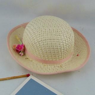 Chapeau de paille pour poupée porcelaine 24 cm.