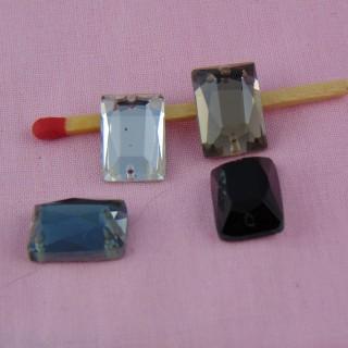 3 pierres en verre en verre à coudre rectangulaires 14 mm