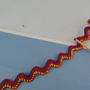 Galon ethnique croquet zig zag 14 mm