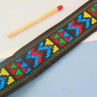 Gallone ethnisches Band aus Jute 25 mm am Meter.