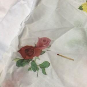 Coupon voile coton à fleurs DMC