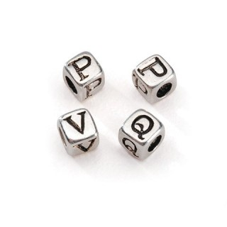Pearl 5 mm silver plated alphabet cubic