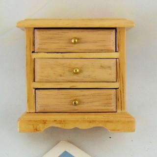 Table de nuit chevet miniature en bois 6 cm