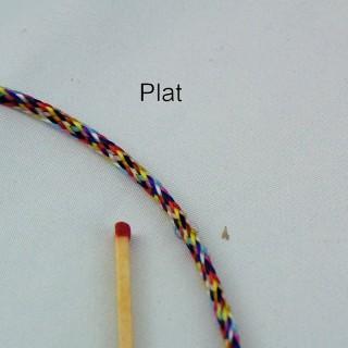 Multicolored yarn twist braid flat 3 mm.