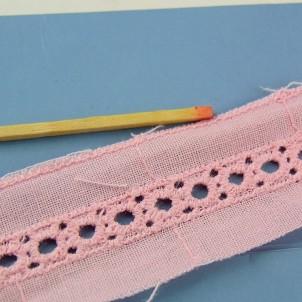 Flat lace ribbon,  flat  lace trim 8 mms.
