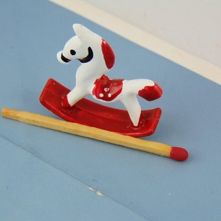 Toy horse rocking miniature metal painted 3 cm