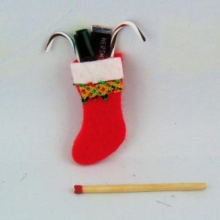 Dije calcetín de Noël esmaltado miniatura