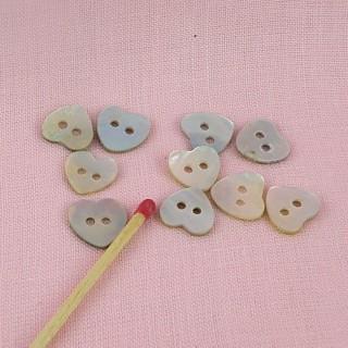 Botones corazón Madre de la perla botón
