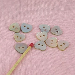 Heart buttons mother of pearl two holes