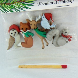 Botones de animales tema de Navidad vestir para arriba,