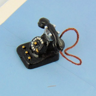 Teléfono miniatura negro forma antigüedad miniatura casa muñeca 2 cm.