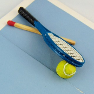 Tennis racket and miniature ball House doll 6 cm.