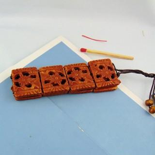 Barato madera elástica abalorios pulsera