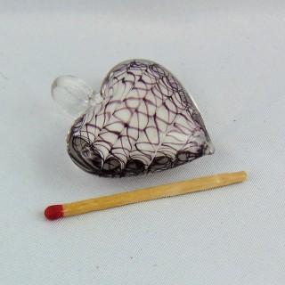 Bouteille miniature coeur en verre fiole coeur