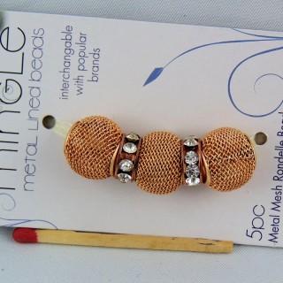 5 Perles métal tressé grand trou 14 mm