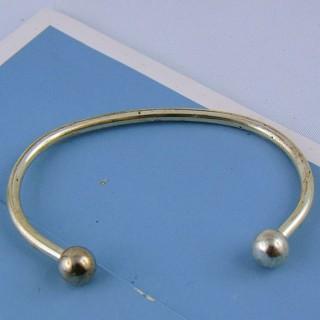 Bracelet rigide argenté vis accessoire création bijoux 6 cm